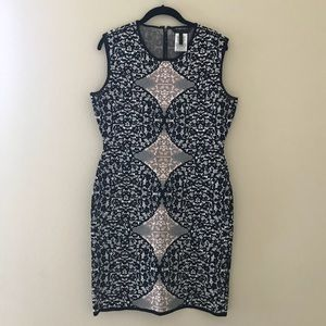 BCBG Jacquard Sleevless Bodycon Dress